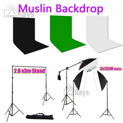 Studio Softbox Light Boom Lighting Kit Muslin Backdrop 2.8x3m Background Stand