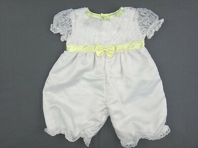 VINTAGE Baby Girl OUTFIT 3-6 Months DRESSY White Satin Lace Yellow One-piece EUC