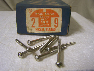 "#9 x 2"" Round Head Nickel Plated Steel Wood Screws Slotted Qty. 135"