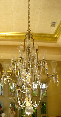 Bronze Crystal Chandelier 18 Arms with Crystal Ascents and Fluted Glass