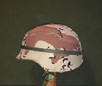 Nice! Original Desert Storm Era Us Combat Helmet With 6 Color Desert Cover - Med
