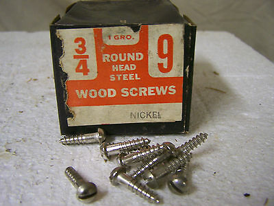 "#9 x 3/4"" Nickel Plated Wood Screws Round Head Slotted Made in USA Qty. 140"
