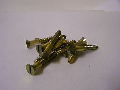 "#14 x 1 3/4"" Flat Head Brass Wood Screws Solid Brass Slotted Made in USA Qty 100"