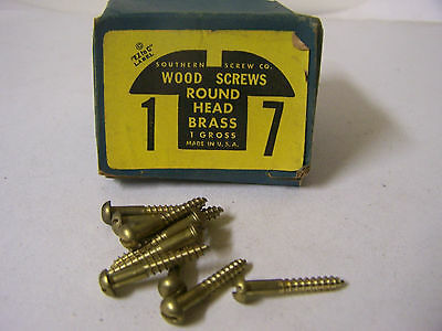 "#7 x 1"" Round Head Brass Wood Screws Solid Brass Slotted Made in USA Qty. 144"
