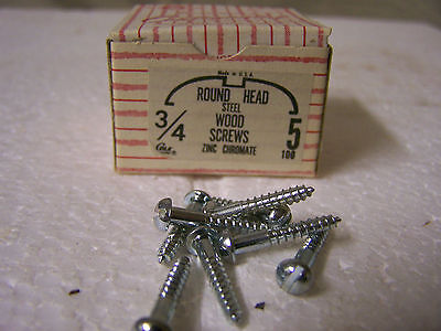 "#5 x 3/4"" Round Head Zinc Chromate Plated Wood Screws Slotted USA Made Qty. 100"