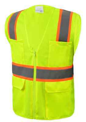 Class 2 Safety Vest Yellow Six Pockets Reflective High-Vis L/XL