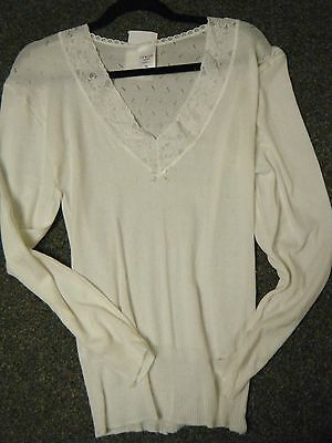 Ladies  Chilprufe Long Sleeve V Neck Cream Thermal Vest   X Large