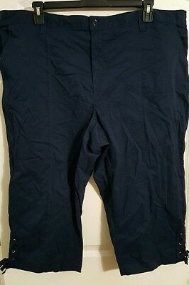 Woman Pants Cropped Capri Basic Editions Lace Up Hem Navy Blue Plus 2X NEW