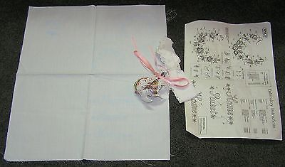 White Stamped Printed 3 Perfume Sachets Sew Crewel Embroidery Stitch Heart Kit