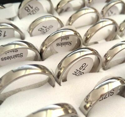 30pcs Comfort Fit 4mm Silver Wedding Stainless Steel Band Ring Wholesale Jewelry