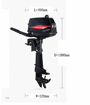 6HP Outboard Motor 24L Fuel Tank 2 Stroke Inflatable Fishing Boat Engine