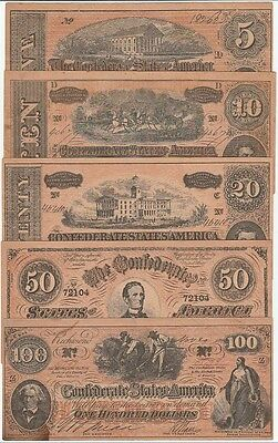 Vintage Conferedate Currency Reproduction Set Nice