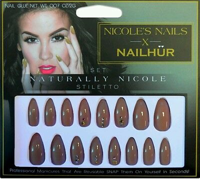 NAILHUR x NICOLE GUERRIERO Snap Stick On False Nails NATURALLY Stiletto REUSABLE