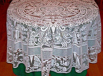 """Stunning 74"""" Diameter Vintage Round Filet Lace Tablecloth, Excellent Condition"""