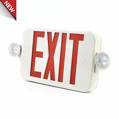 LED Exit Sign & Emergency Light – High Output - RED Compact Combo UL COMBORJR2 T