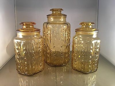 Vtg L.E. Smith Imperial Honey Amber Glass Atterbury Scroll Canister Jars 9 & 12""