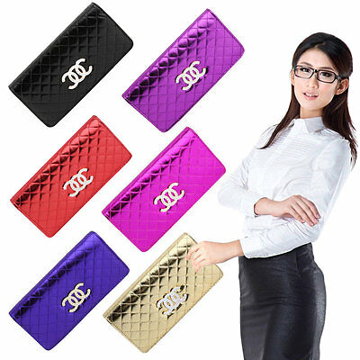 Women Vintage Long Style Credit Card Holder Leather Coin Purse Handbag AU
