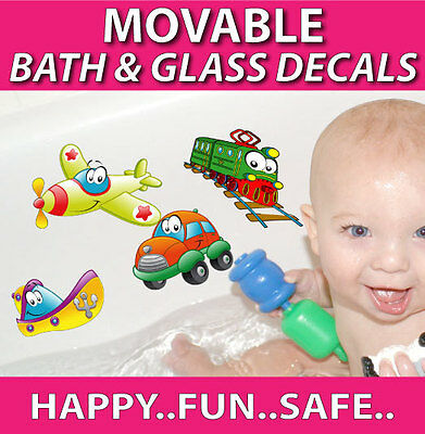 Car Train Boat Bath Bathroom Ceramic Tile Glass Reusable Stickers Decals