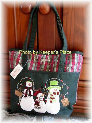 Longaberger Holiday Plaid Snowmen Basket Embroidered Bag Tote Purse New With Tag