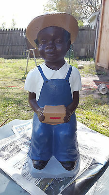 Concrete Hookey Boy Red ( Black Lawn Jockey) Rare And New
