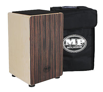EBONY MANO PERCUSSION CAJON DRUM, WOODEN RHYTHM BOX with BLACK PADDED GIG BAG