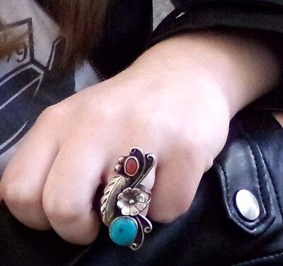 Old LONG Sterling Silver Turquoise Coral Navajo KNUCKLE Blossom Feather Ring