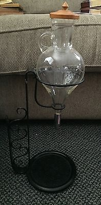 Vintage Hanging Etched Glass Wine Decanter Glass Insert W/ Lid & Metal Stand