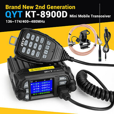 QYT Updated KT8900D Car Radio VHF UHF Car/Trunk Ham Mobile Radio 25W+ Mic+ Cable