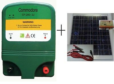 Solar Electric fence Energiser AC 240/ 12VDC 2 Joule 30km+ Power Pack Include...