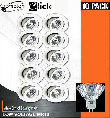 10 Pack x White Gimble Halogen Downlights 12V 35W MR16 GU5.3 Gimbal