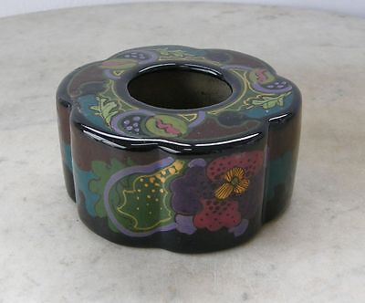 GOUDA IVORA INKWELL High Glaze Beautiful Colors Fluted Round RARE! 1920's