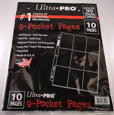10 Pages of Ultra Pro 9 pocket pages No PVC Acid Free Highest Clarity Brand New