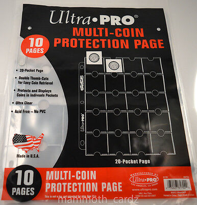 10 Pages of Ultra Pro 20 pocket pages Multi Coin Highest Clarity Brand New