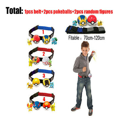 Kids Figure Toy Pokemon Clip n Carry Adjustable Poke Ball Belt Pretend Play Game