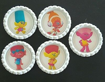 5 x The Trolls Movie White Flattened Bottle Caps - Great for Jewellery, Bows