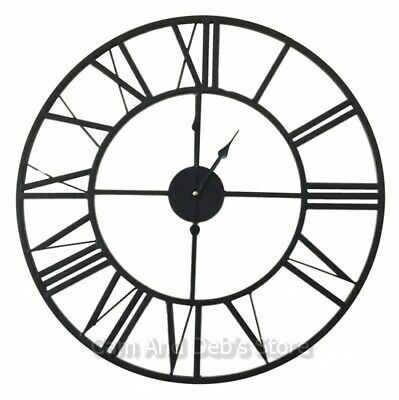 New Large 60cm Black Iron Metal Wall Clock French Provincial Style
