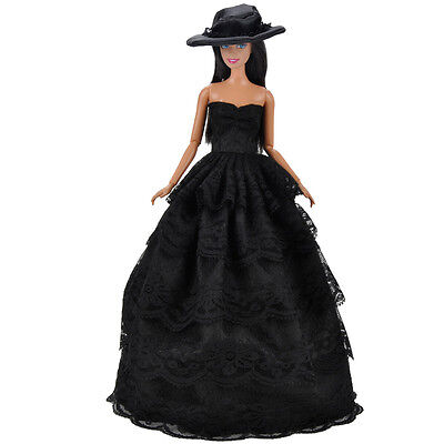 E-TING Fashion Black Doll Clothes Evening Party Dress Ballgown Hat For Barbie K