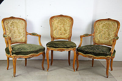 PAIR OF WALNUT & PARCEL GILT FAUTEUILS with MATCHING SIDE CHAIR