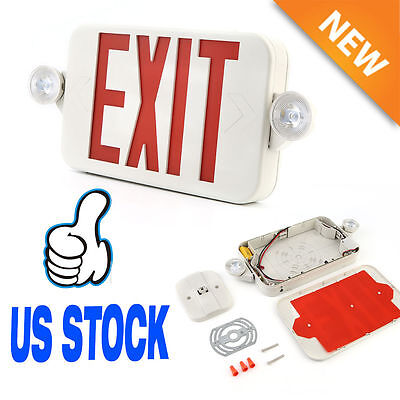 Red LED Emergency Exit Light Sign - Modern Battery Backup UL924 Fire TO
