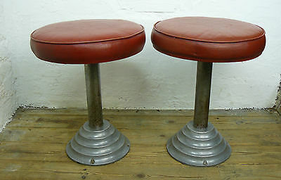 A Good Pair of Vintage 1930-40s English Factory / Workshop Stools