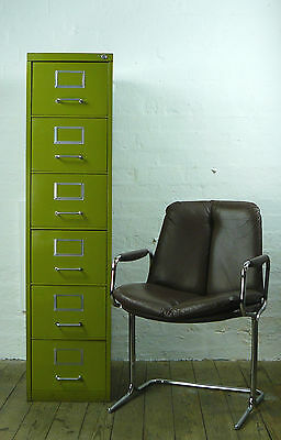 Vintage 1960/ 1970 Narrow Six Drawer Pea Green Metal Cabinet Also Small Cabinets