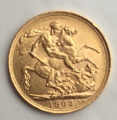 full Gold Sovereign Coin Edward VII 1903 M Melbourne 22ct
