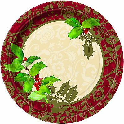 Christmas Holly 23CM Plates 8PK Party Supplies Decoration Christmas Paper