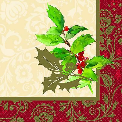 Christmas Holly Luncheon Napkins 16PK Party Supplies Decoration Christmas