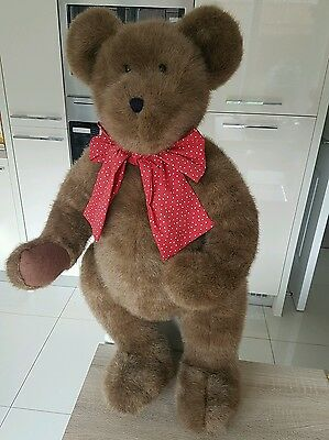 Large Boyd's multi Jointed Bear 1988-2004 Brown bear red ribbon.  Discontinued.