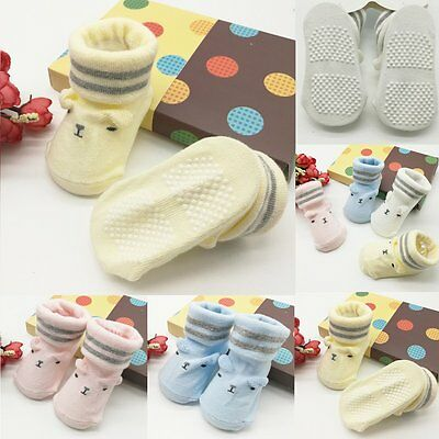 Unisex Baby Girl Cute Non-Slip Shoes Socks Booties Slippers Warm Bowknots 0-6M