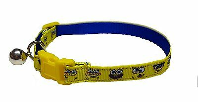 Spoilt Rotten Pets Quality Spongebob Cat Collar. Safety Buckle and Bell