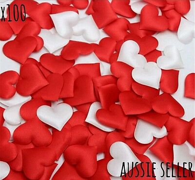x100 red white mix fabric satin heart confetti wedding decoration throwing table