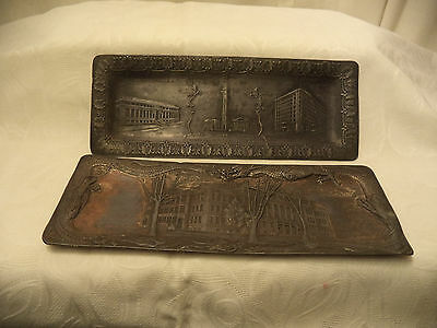 2 Antique Pewter trays Springfield MA Hotel Kimball Central High School