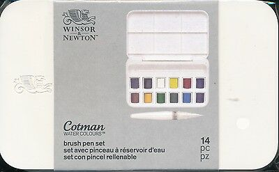 Winsor And Newton Cotman Water Colours Brush Pen Set NEW 14 piece